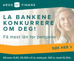 Aros Finans er Norges nye sammenligningstjeneste for lån. Her kan du utrolig raskt og enkelt søke om et lån hos opp til 17 forskjellige långivere – helt gratis og uforpliktende.